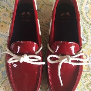 Cole Haan  Red Patent Leather Boat Shoes